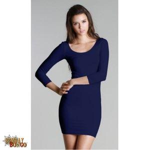 Nikibiki Seamless Dress 3/4 Sleeve Bodycon Navy